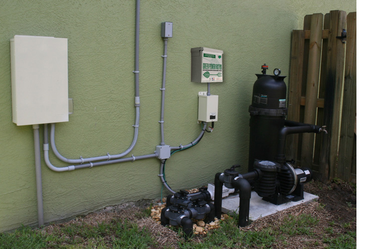Additional Green Power Factor Supplementary Unit installed next to Swimming Pool Pump