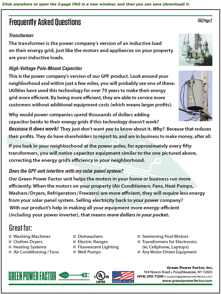 Green Power Factor technology Frequently Asked Questions